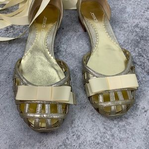 b9a4d3bced9 Jessica Bennett Lace Up Cage Bow Flats 8